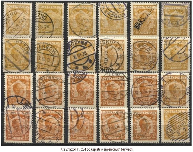 Wpływ kąpieli znaczków na ich barwę